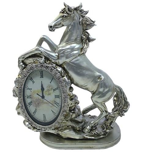 Часы настольные Лошадь цвет: серебро L31W15H40 см - фото 68385