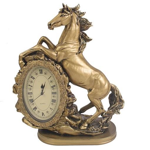 Часы настольные Лошадь цвет: золото L31W15H40 см - фото 68388