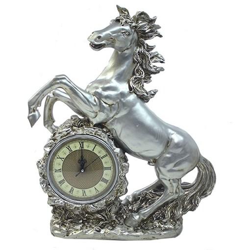 Часы настольные Конь цвет: серебро L39W17H51 см - фото 68389
