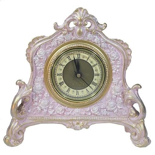 Часы настольные цвет: розовый с золотом L21W6.5H19 см - фото 68394