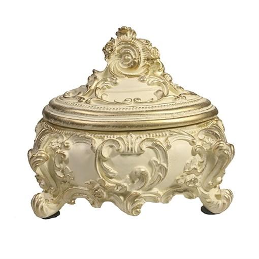 Шкатулка для украшений цвет: слоновая кость золото L16W13H14 см - фото 68494