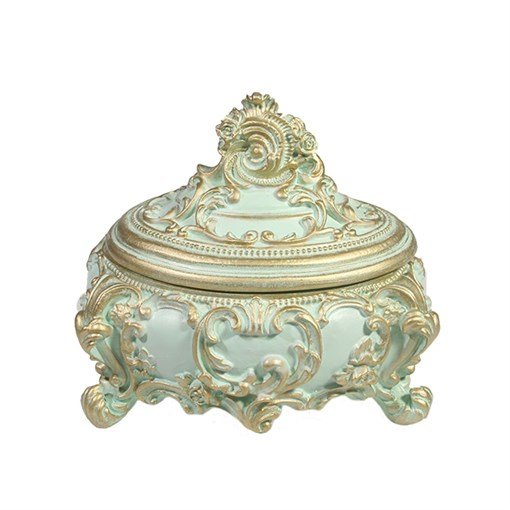 Шкатулка для украшений цвет: бирюзовый L16W13H14 см - фото 68495
