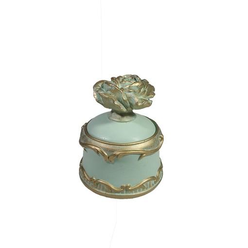 Шкатулка для украшений цвет: бирюзовый L9W9H11.5 см - фото 68496