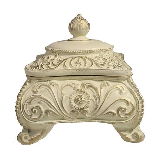 Шкатулка для украшений цвет: слоновая кость золото L13W13H13 см - фото 68499