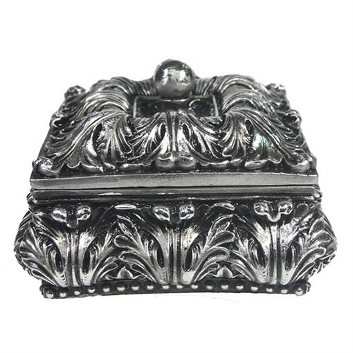 Шкатулка для украшений цвет: серебро L14.5W14.5H9.5 см - фото 68501