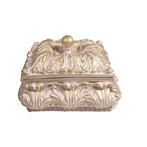 Шкатулка для украшений цвет: розовый L14.5W14.5H9.5 см - фото 68504