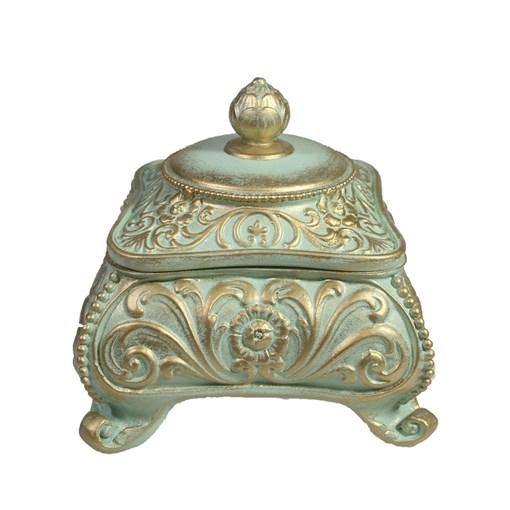 Шкатулка для украшений цвет: бирюзовый L13W13H13 см - фото 68509