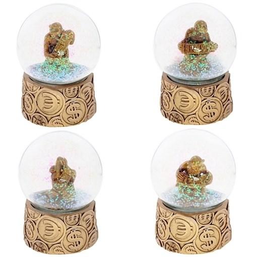 Фигурка декоративная в стеклянном шаре Денежная обезьянка H8.8см - фото 68671