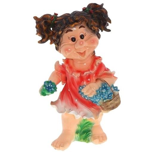 Фигура садовая Девочка с хвостиками L33W28H59 см. - фото 68673