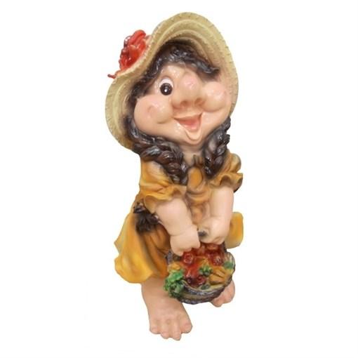 Фигура садовая Девочка-гном с корзинкой L23W25H49 см. - фото 68679