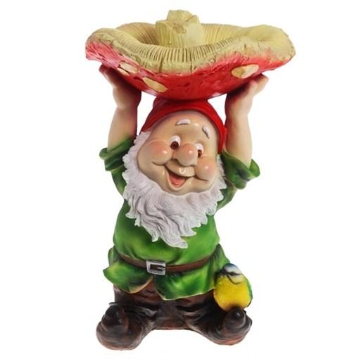 Фигура садовая Гном с грибом на голове L31W31H48 см. - фото 68685