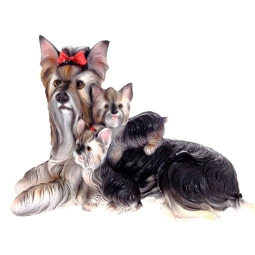 Фигура садовая Йоркширский терьер со щенками L32W15H20 см. - фото 68761