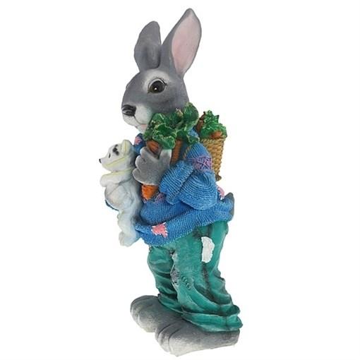 Фигурка садовая Заяц с морковкой полистоун H58 см - фото 68793