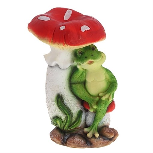 Фигура садовая Мухомор с лягушонком L25.5W19H36 см. - фото 68822