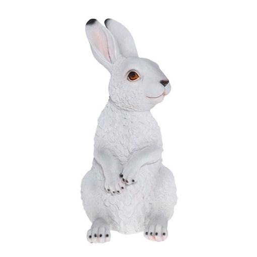Фигура декоративная Заяц полевой белый L16W18H35 см. - фото 68860