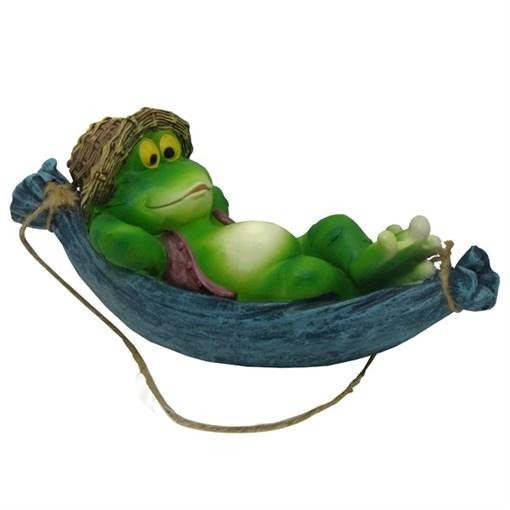 Фигура садовая навесная Лягушка в гамаке L30W13H14.5 см. - фото 68864