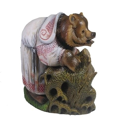 Фигурка декоративная Мишка у дупла L25W16 Н27.5см. - фото 68884