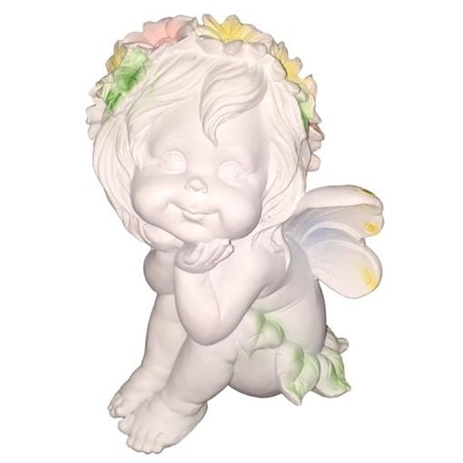 Фигура декоративная Ангелочек мечтатель H29 см. - фото 68989