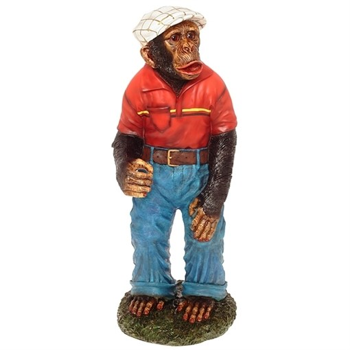 Фигура декоративная Обезьяна в штанах в красной футболке Н88см - фото 69172
