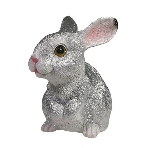 Фигура декоративная Зайка цвет: серебро L8W13H13.5см - фото 69296