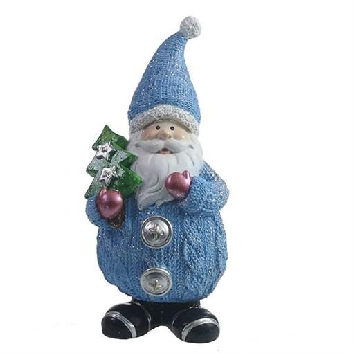 Фигура декоративная Дед Мороз с елочкой цвет: голубой L7W6H16.5см - фото 69321