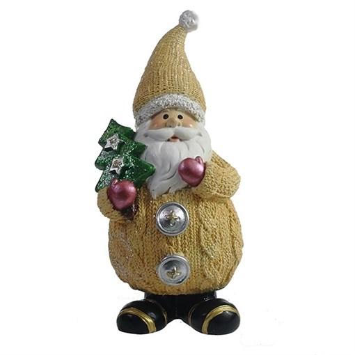 Фигура декоративная Дед Мороз с елочкой цвет: бежевый L7W6H16.5см - фото 69322