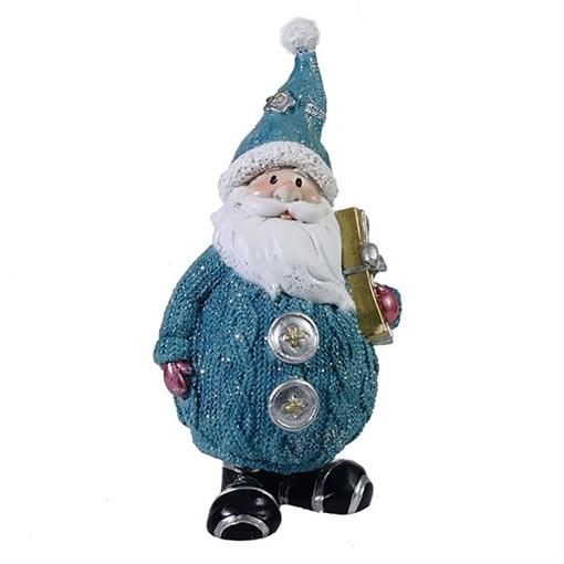 Фигура декоративная Дед Мороз с подарком цвет: голубой L7W6H16.5см - фото 69323