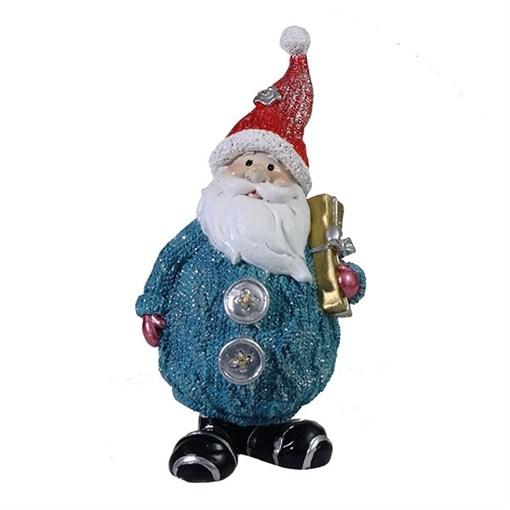 Фигура декоративная Дед Мороз с подарком цвет: голубой с красным колпаком L7W6H16.5см - фото 69324