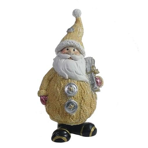 Фигура декоративная Дед Мороз с подарком цвет: бежевый L7W6H16.5см - фото 69325