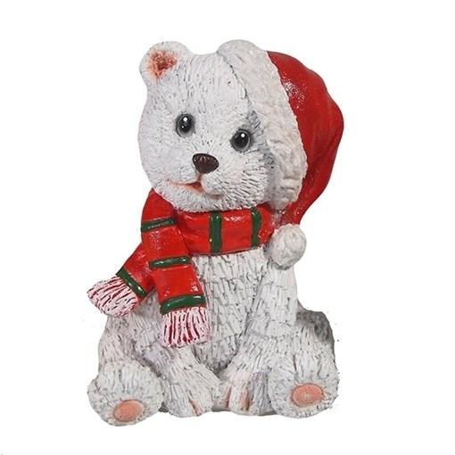 Фигура декоративная Мишка в колпаке цвет: белый L6W7H12см - фото 69334