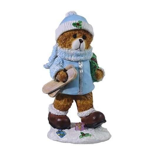 Фигура декоративная Мишка с лыжами цвет: голубой L8W6H16см - фото 69355