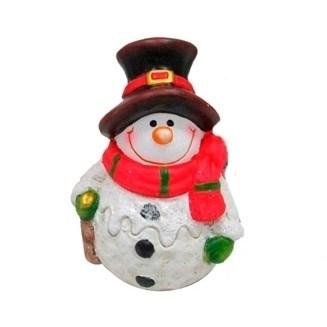 Фигурка декоративная Снеговичок с красным шарфом  7.7х6.7х10.8см - фото 69372