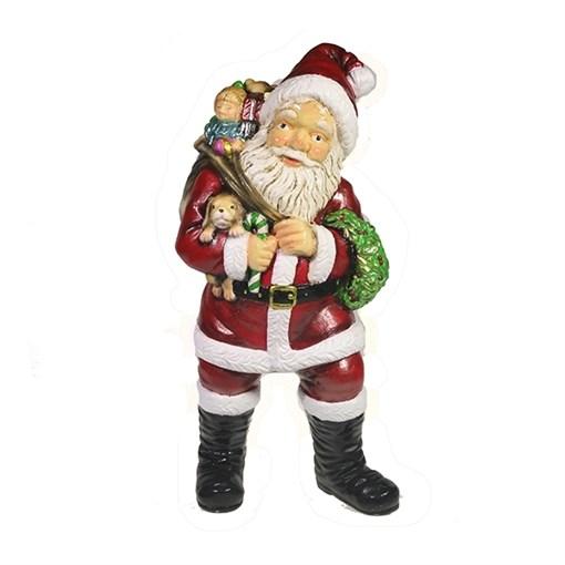 Фигура декоративная Санта держит щенка цвет: красный L11W14H29см - фото 69398