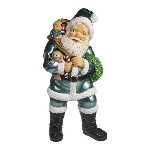Фигура декоративная Санта держит щенка цвет: бирюзовый L11W14H29см - фото 69399