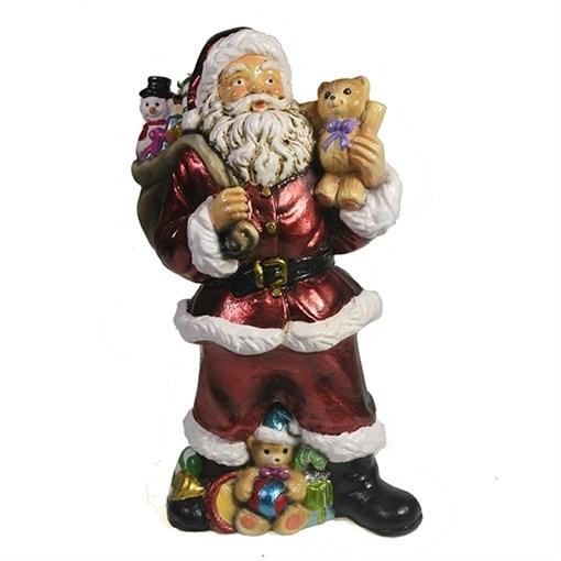 Фигура декоративная Санта с игрушечным мишкой в руке цвет: красный L10W13H25см - фото 69400