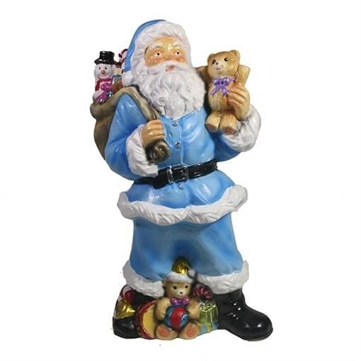 Фигура декоративная Санта с игрушечным мишкой в руке цвет: голубой L10W13H25см - фото 69401