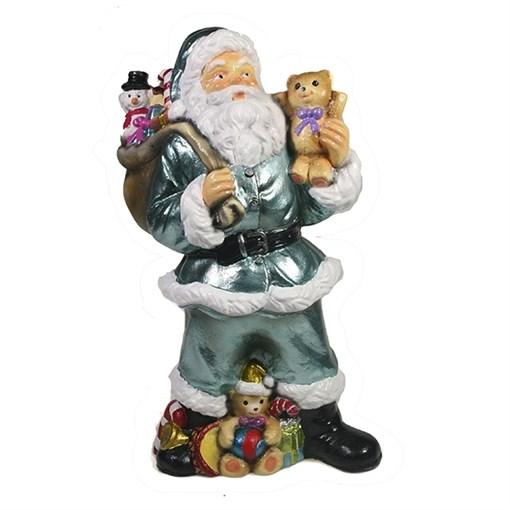 Фигура декоративная Санта с игрушечным мишкой в руке цвет: бирюзовый L10W13H25см - фото 69402