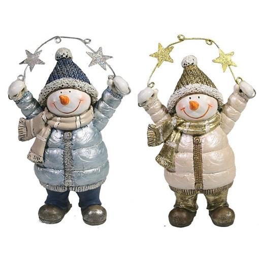 Фигура декоративная Снеговик со звездами L9W5H13см - фото 69408