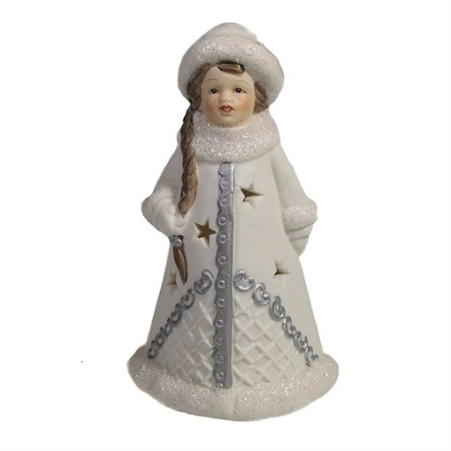 Фигура декоративная Снегурочка в белой шубке L7W6H11.5см - фото 69417