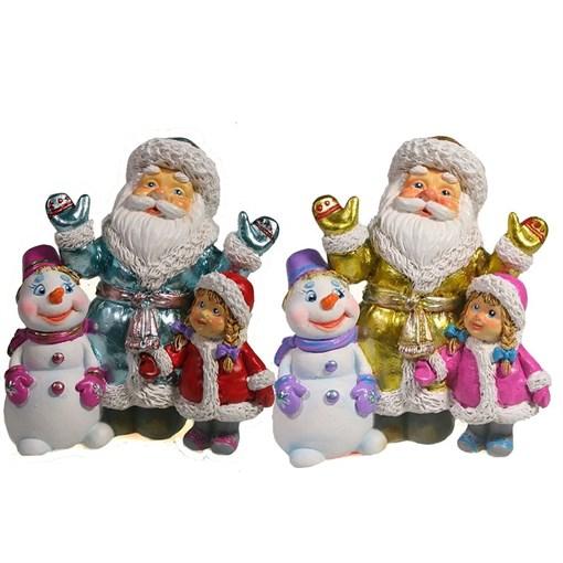 Фигура декоративная Дед Мороз cнеговик и девочка L9.5W6H10.5см - фото 69418