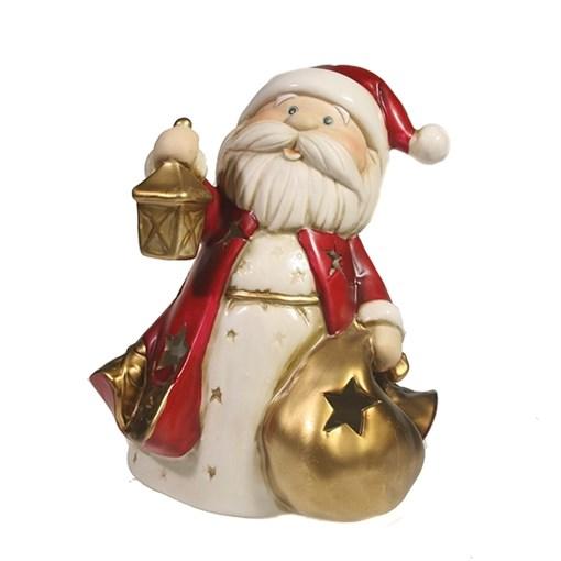 Фигурка декоративная Дед Мороз с мешком со светодиодной подсветкой L13.5W12.5H14см - фото 69421