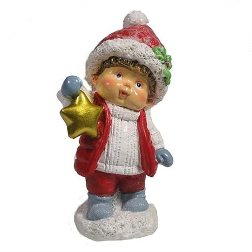 Фигура декоративная Мальчик со звездой цвет: красный L6.5W6H11.5см - фото 69426