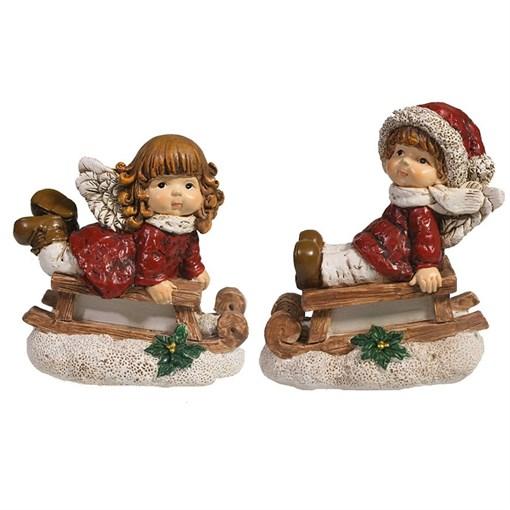 Фигура декоративная Мальчик на санях и Девочка на санях L9W5.5H10см - фото 69427