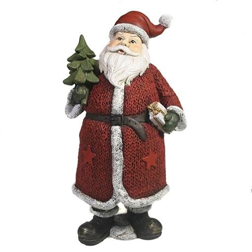 Фигура декоративная Дед Мороз с елкой и подарком в красном L11W10H21см - фото 69436