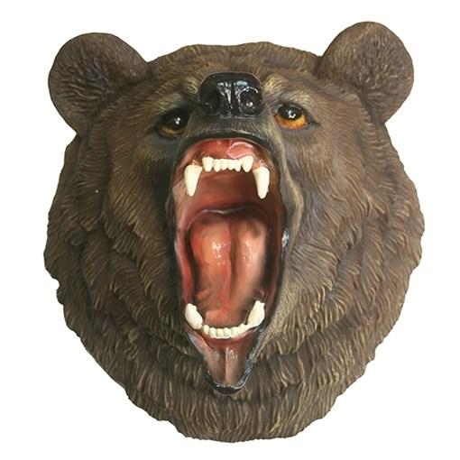 Фигура декоративная навесная Голова свирепого медведя L28W41H41см - фото 69574