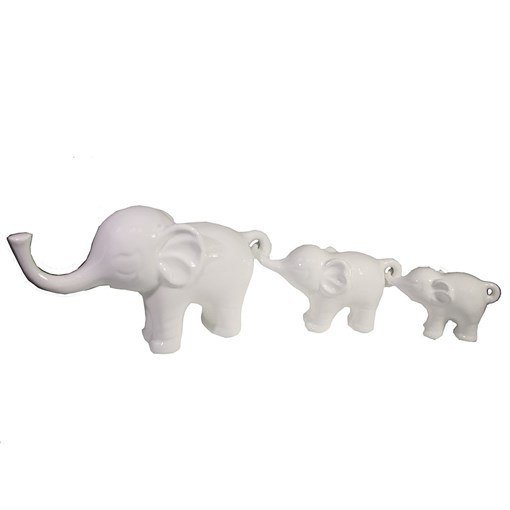 Набор из 3-х декоративных фигурок Семья слонов цвет: белый L57W15H8.5см - фото 69608
