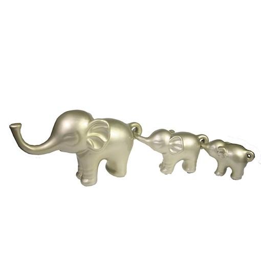 Набор из 3-х декоративных фигурок Семья слонов цвет: серебристо-бежевый L57W15H8.5см - фото 69610