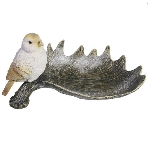 Подставка под мелочи Лосиный рог с птичкой цвет: акрил L28W15H14см - фото 69618