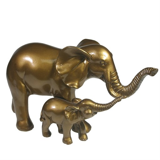 Фигура декоративная Слониха со слоненком цвет: бронза L22W9H12см - фото 69628