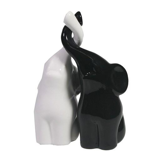 Фигура декоративная Пара слонов цвет: черный+белый глянец L6.5W12H16см - фото 69630